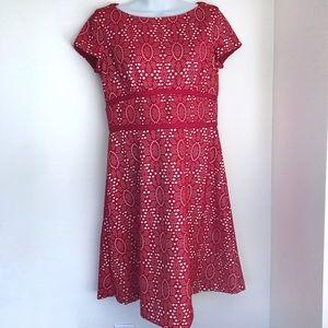 Maggy London Red Crochet Eyelet Dress